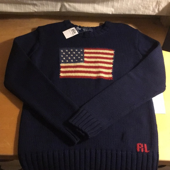 3942782a933b9 Vintage Polo Ralph Lauren American Flag Sweater